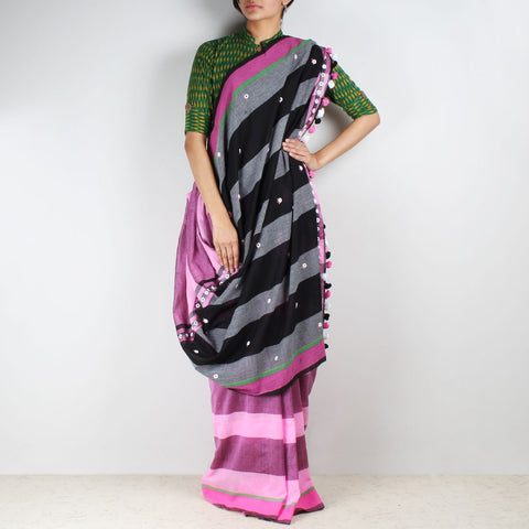 Pink Striped Handwoven Cotton Saree With Mirrorwork Pallu by MEENAKARI