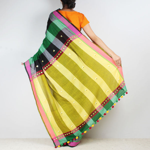 Chequered Handwoven Cotton Saree With Mirrorwork Pallu