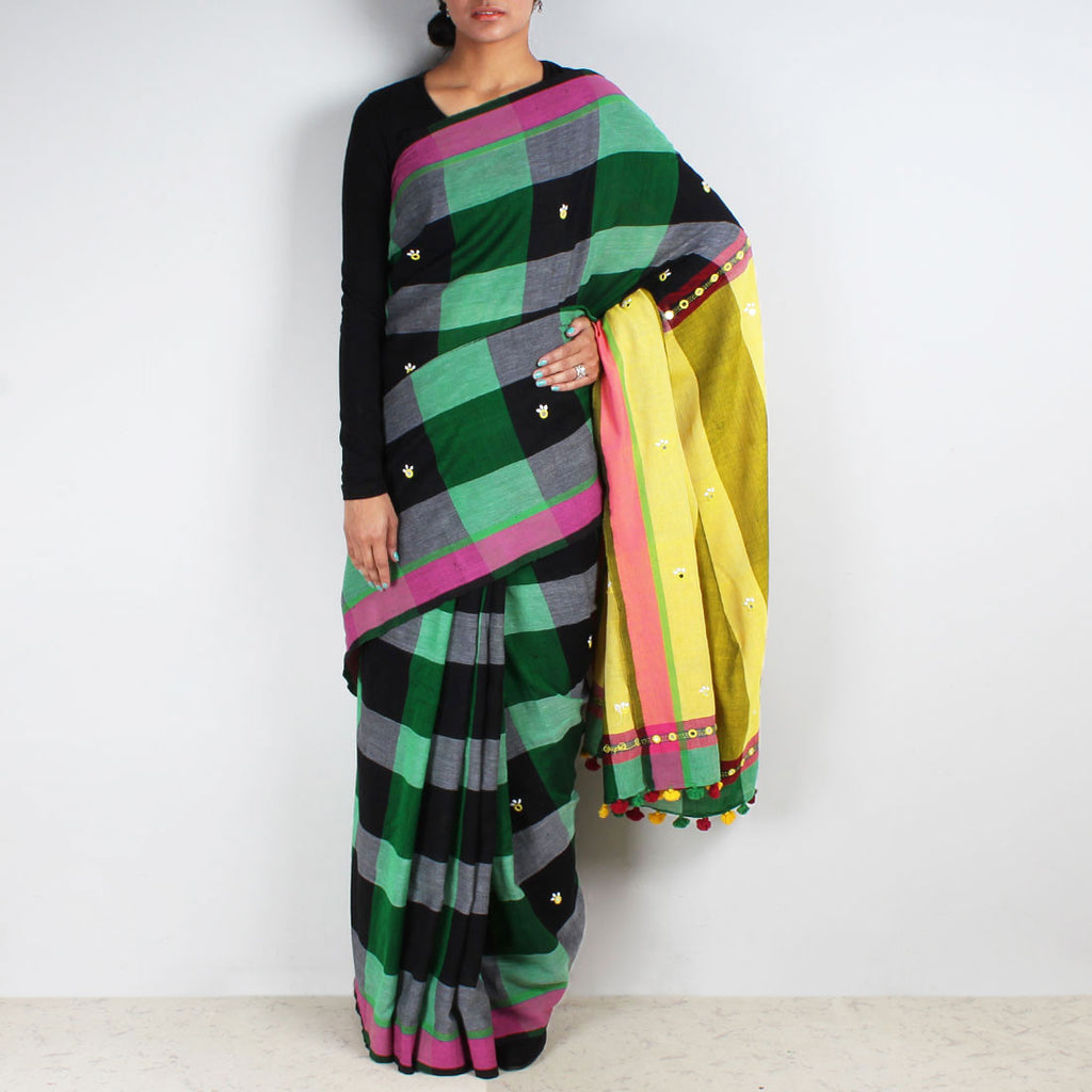 Chequered Handwoven Cotton Saree With Mirrorwork Pallu by MEENAKARI