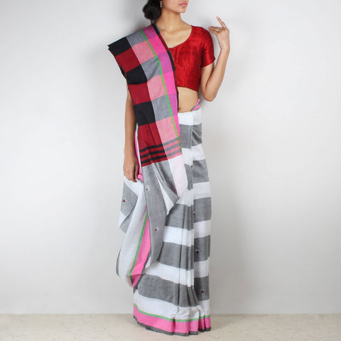 Twin Color Chequered Handwoven Cotton Saree With Multicoloured Pallu by MEENAKARI