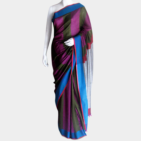 Magenta Striped Handwoven Cotton Sari by MEENAKARI