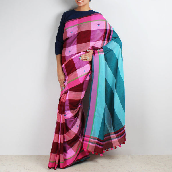 Pink Chequered Handwoven Cotton Saree