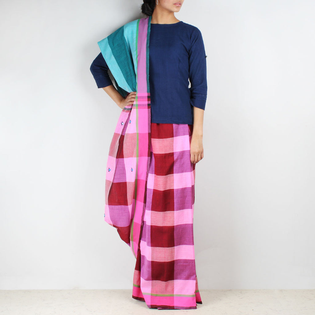 Pink Chequered Handwoven Cotton Saree by MEENAKARI