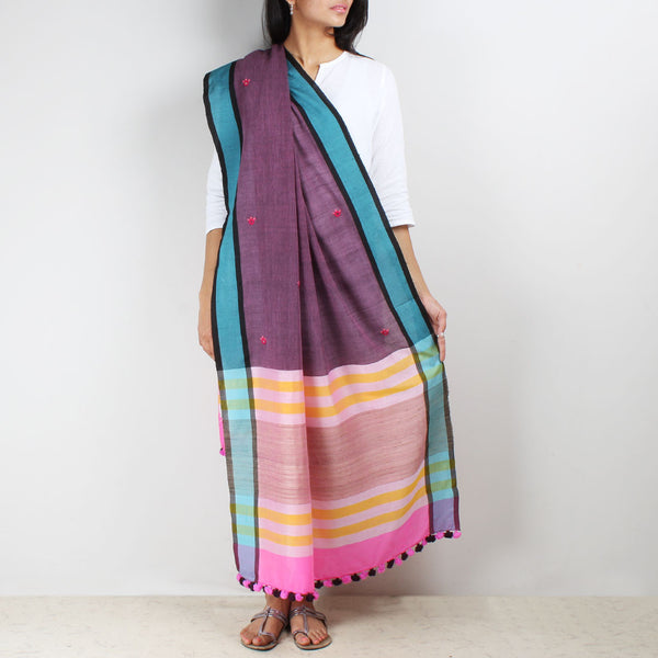 Wine Handwoven Cotton Dupatta With Mirrorwork
