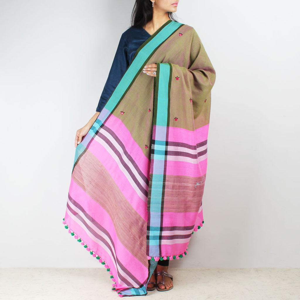 Khaki Handwoven Cotton Dupatta With Mirrorwork by MEENAKARI