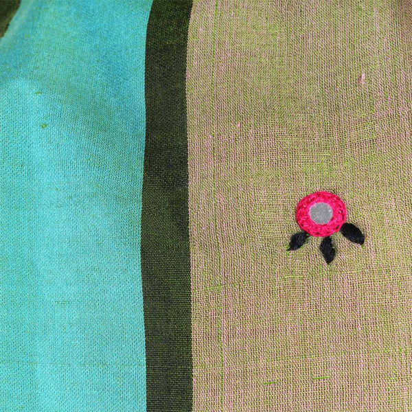 Khaki Handwoven Cotton Dupatta With Mirrorwork