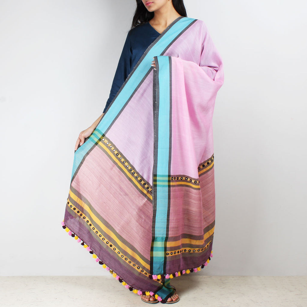 Baby Pink Handwoven Cotton Dupatta With Mirrorwork by MEENAKARI