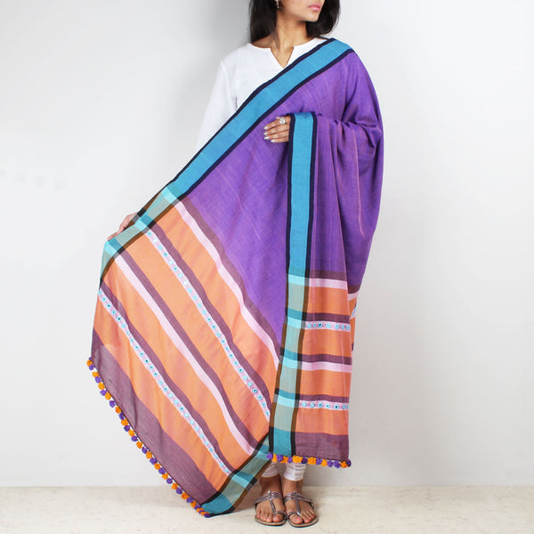 Purple Handwoven Dupatta With Mirrorwork by MEENAKARI