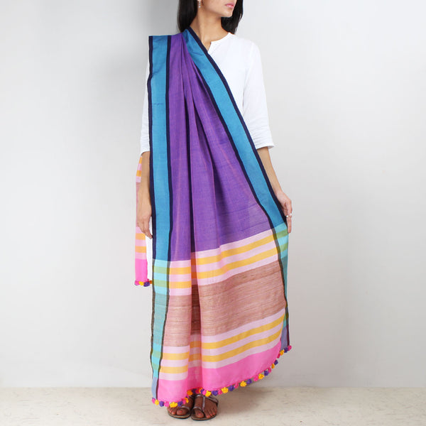 Purple Handwoven Cotton Dupatta With Striped Border by MEENAKARI