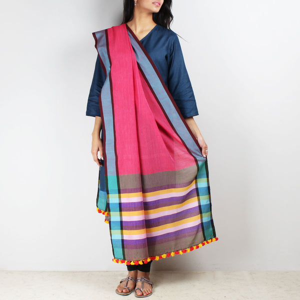 Handwoven Cotton Dupatta With Striped Border by MEENAKARI