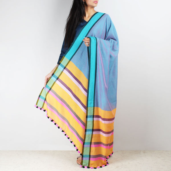 Blue Handwoven Cotton Dupatta With Striped Border by MEENAKARI
