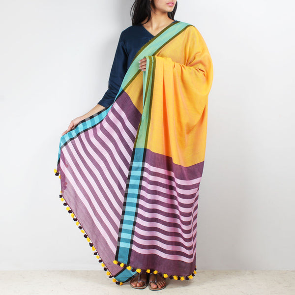 Yellow Handwoven Cotton Dupatta With Striped Border