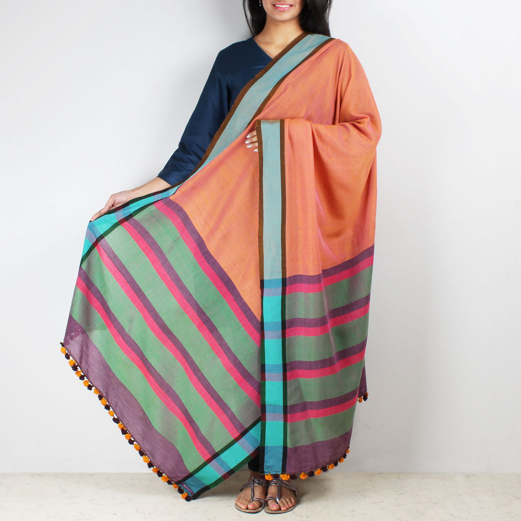 Orange Handwoven Cotton Dupatta With A Striped Border by MEENAKARI