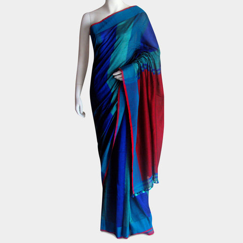 Striped Blue Handwoven Cotton Sari by MEENAKARI