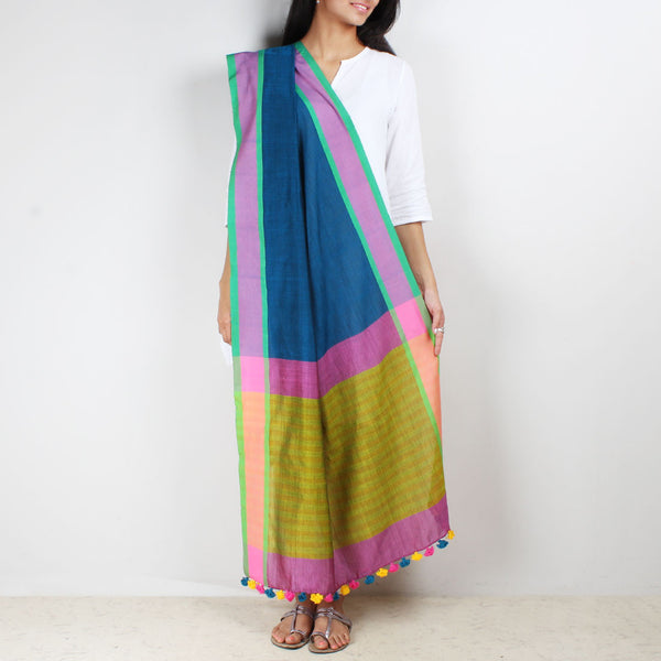 Cobalt Blue Handwoven Dupatta With Striped Border by MEENAKARI
