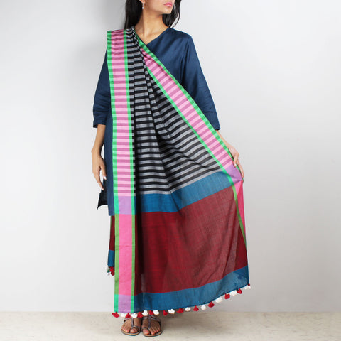 Black And White Striped Handwoven Dupatta by MEENAKARI