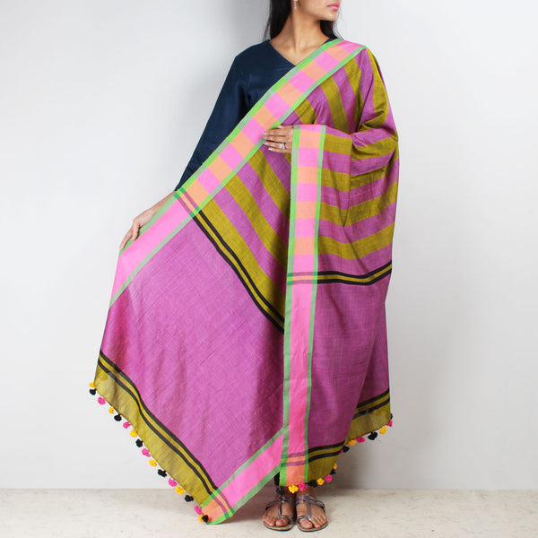 Green And Pink Handwoven Striped Dupatta by MEENAKARI