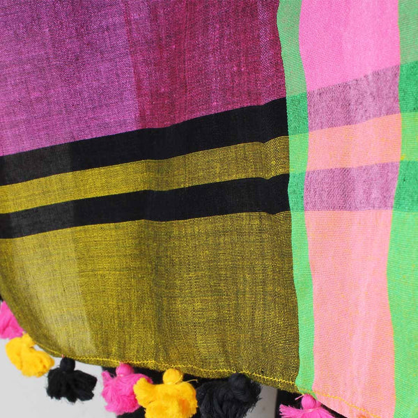 Green And Pink Handwoven Striped Dupatta