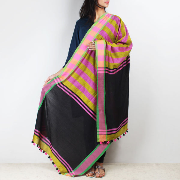 Green And Pink Handwoven Bold Striped Dupatta by MEENAKARI