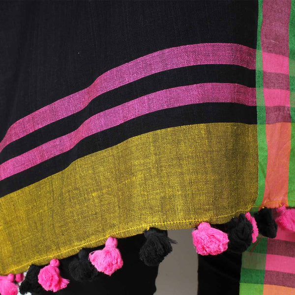 Green And Pink Handwoven Bold Striped Dupatta