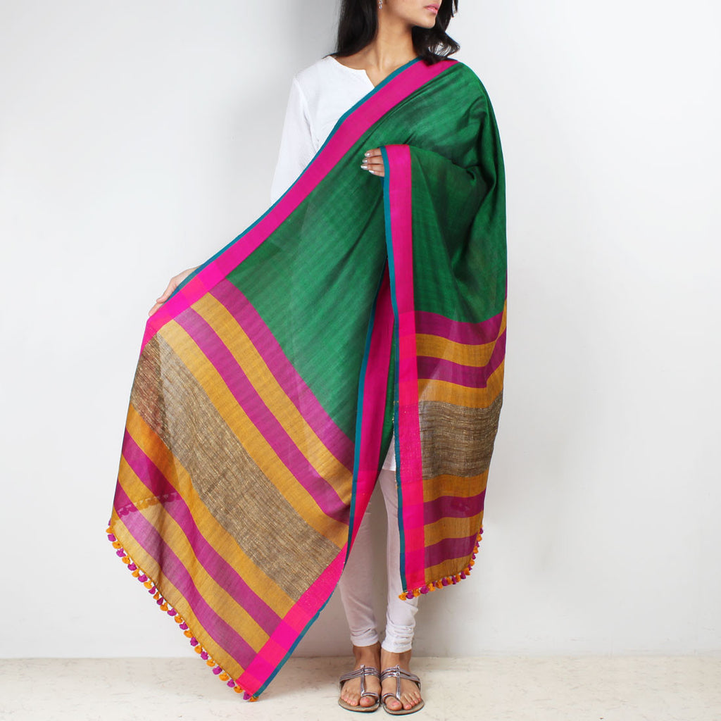 Green Handwoven Dupatta With Striped Border by MEENAKARI