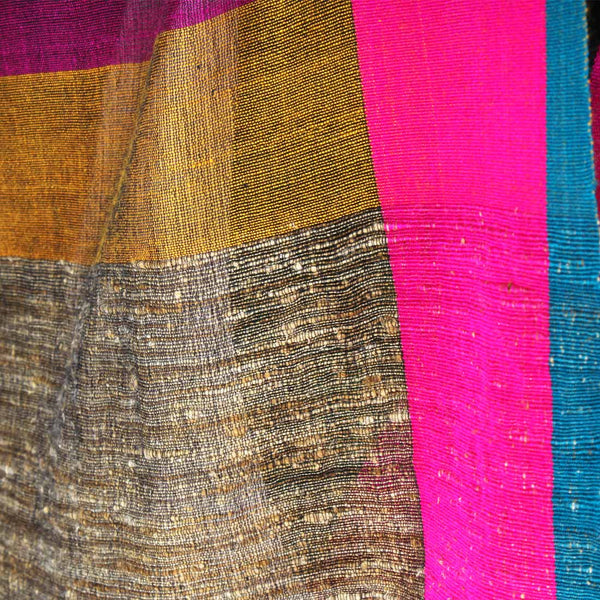Green Handwoven Dupatta With Striped Border