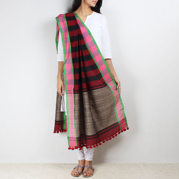 Striped Handwoven Dupatta With Jute Border by MEENAKARI