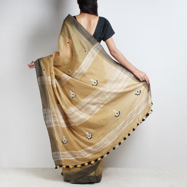 Beige Handwoven Cotton Silk Saree With Mirrorwork