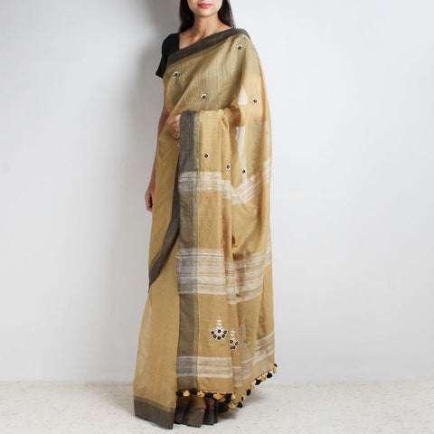 Beige Handwoven Cotton Silk Saree With Mirrorwork by MEENAKARI