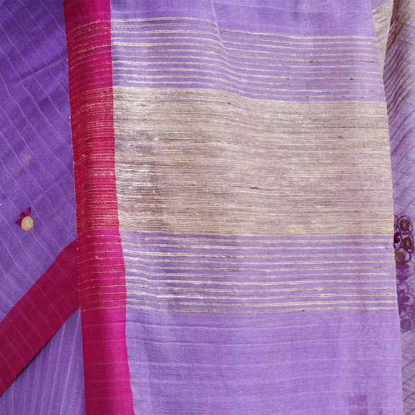 Pink Handwoven Cotton Silk Saree With Mirrorwork