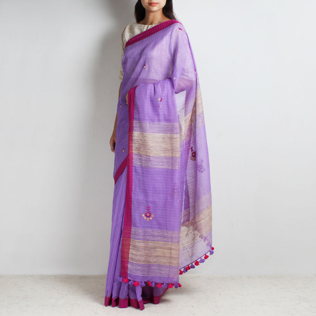 Pink Handwoven Cotton Silk Saree With Mirrorwork by MEENAKARI