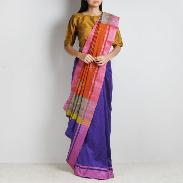 Purple Handwoven Cotton Sari With Kantha Embroidered Pallu