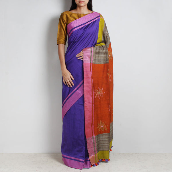 Purple Handwoven Cotton Sari With Kantha Embroidered Pallu by MEENAKARI