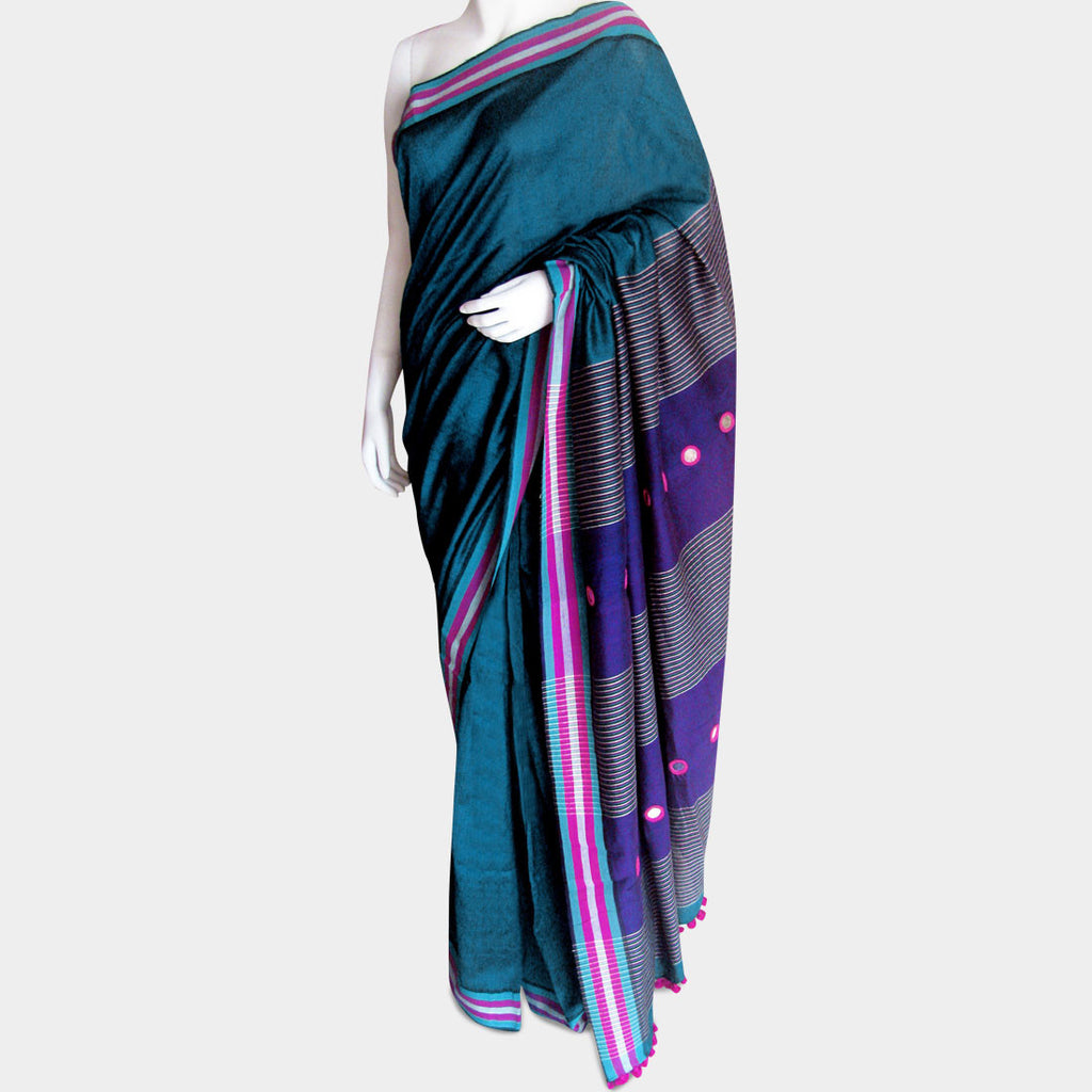 Turquoise Handwoven Cotton Sari by MEENAKARI