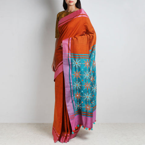 Orange Handwoven Cotton Sari With Kantha Embroidered Pallu by MEENAKARI
