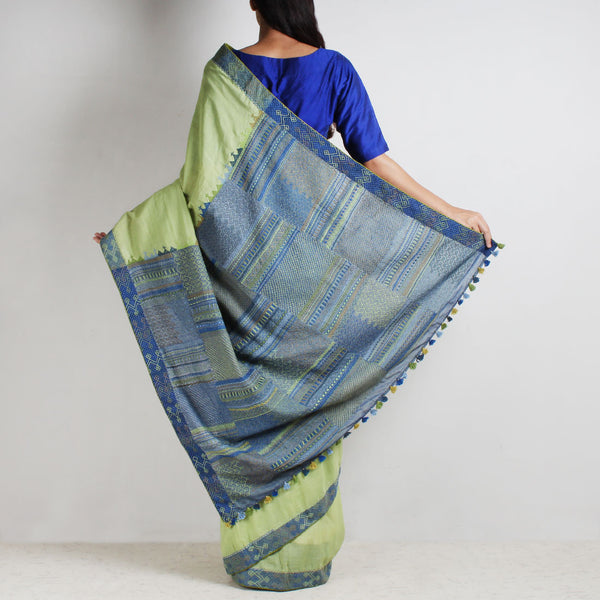 Lime Green Ilkal Cotton Sari With Threadwork
