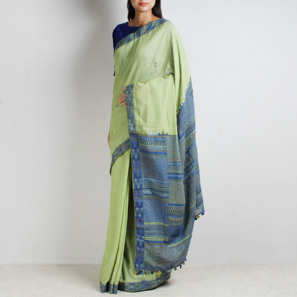 Lime Green Ilkal Cotton Sari With Threadwork by MEENAKARI