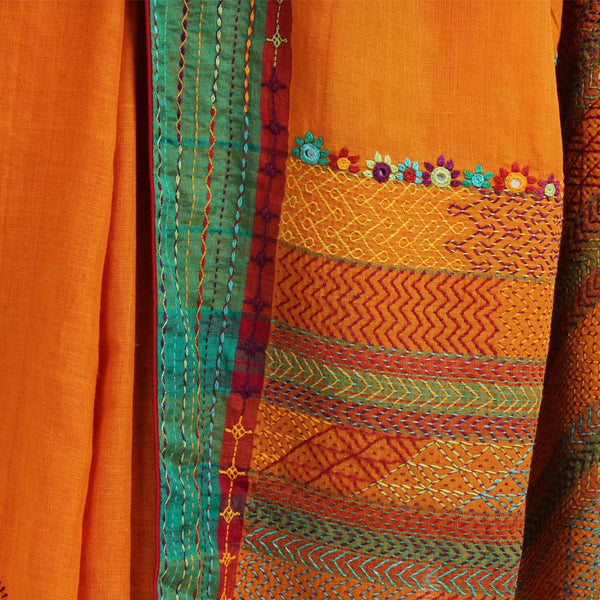 Orange Cotton Sari With Threadwork