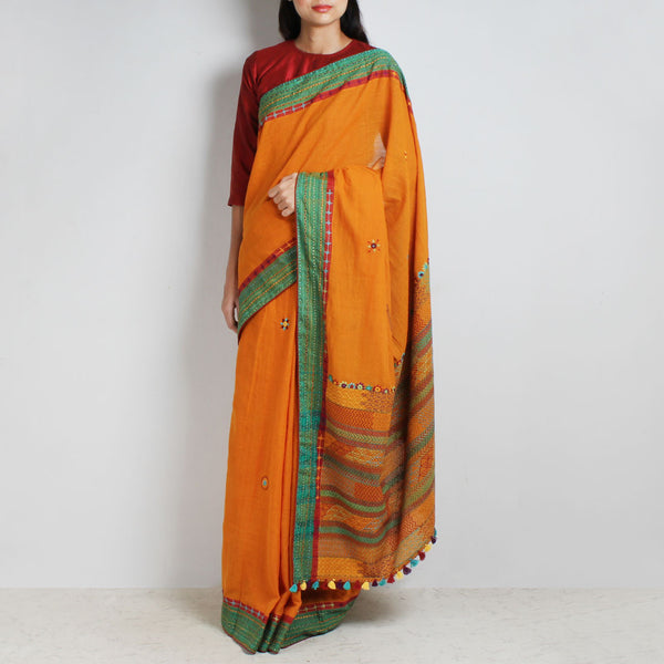 Orange Cotton Sari With Threadwork by MEENAKARI