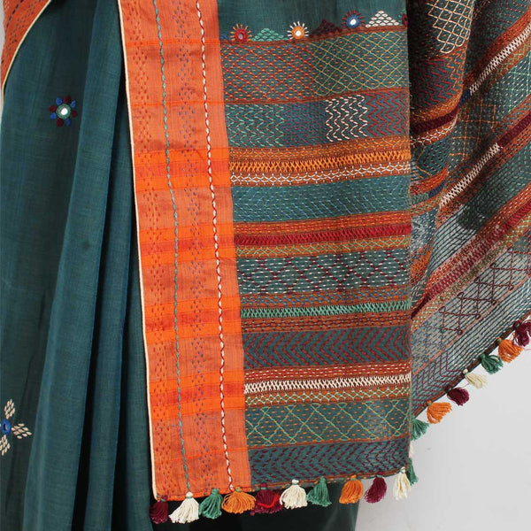 Green Cotton Sari With Multicolour Threadwork Pallu
