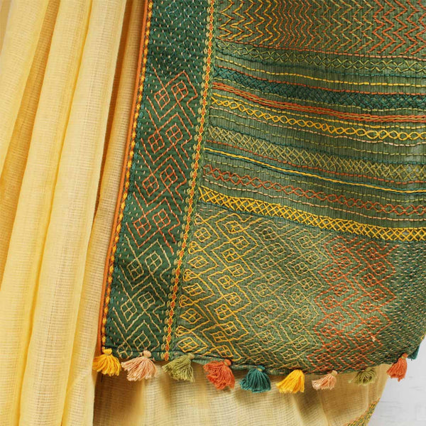 Cream Ilkal Cotton Sari With Green Threadwork Pallu