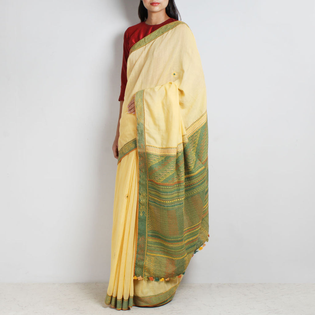 Cream Ilkal Cotton Sari With Green Threadwork Pallu by MEENAKARI