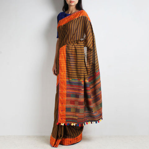 Khaki Striped Cotton Sari With Multicoloured Threadwork Pallu by MEENAKARI