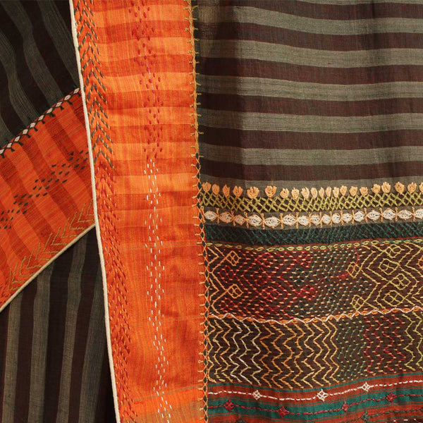 Brown Striped Cotton Sari With Multicoloured Threadwork Pallu