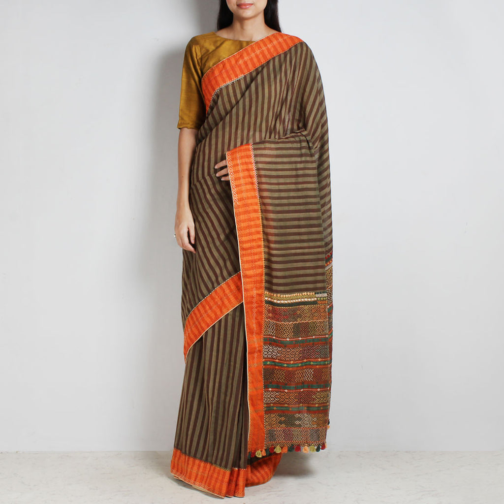 Brown Striped Cotton Sari With Multicoloured Threadwork Pallu by MEENAKARI