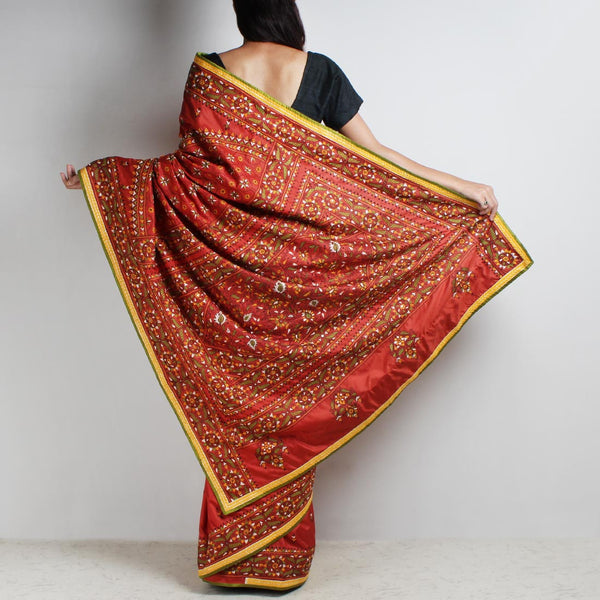Rust Mulberry Silk Sari With Kantha Embroidery And Threadwork