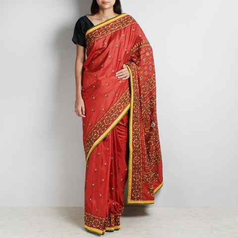 Rust Mulberry Silk Sari With Kantha Embroidery And Threadwork by MEENAKARI