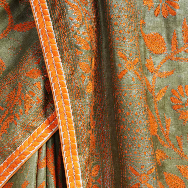 Pista Green Tussar Silk Sari With Kantha Embroidery And Threadwork