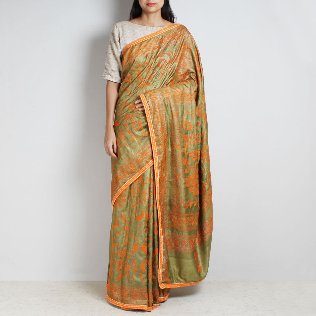 Pista Green Tussar Silk Sari With Kantha Embroidery And Threadwork by MEENAKARI