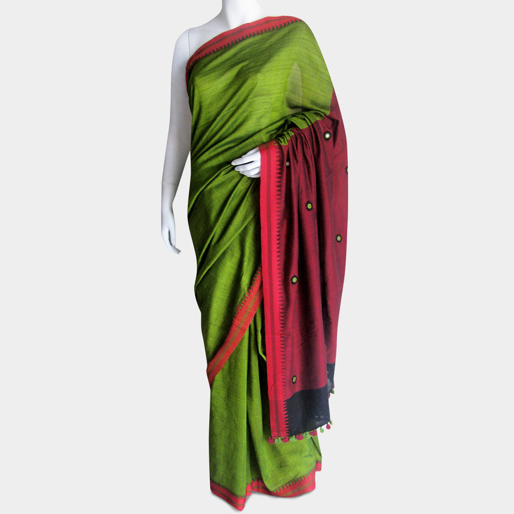 Green & Maroon Handwoven Cotton Sari by MEENAKARI